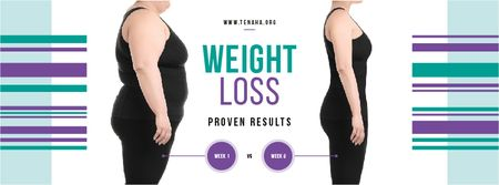 Weight Loss Program Ad with Before and After Facebook cover Tasarım Şablonu