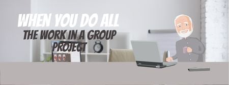 Ontwerpsjabloon van Facebook Video cover van Group of clones working on laptop