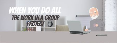 Group of clones working on laptop Facebook Video cover – шаблон для дизайна