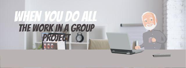 Group of clones working on laptop Facebook Video cover – шаблон для дизайну