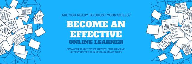 Online Learning Event Announcement Papers in Blue Twitter Tasarım Şablonu