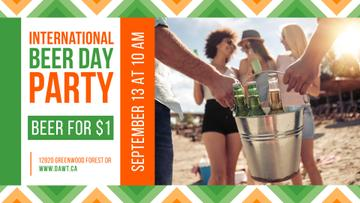 Beer Day Party People Carrying Bottles at the Beach | Facebook Event Cover Template