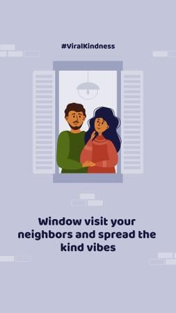 #ViralKindness with friendly Neighbors staying at home Instagram Story Modelo de Design
