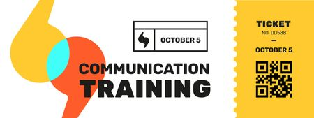 Communication Training with Colourful Brackets Ticket Design Template