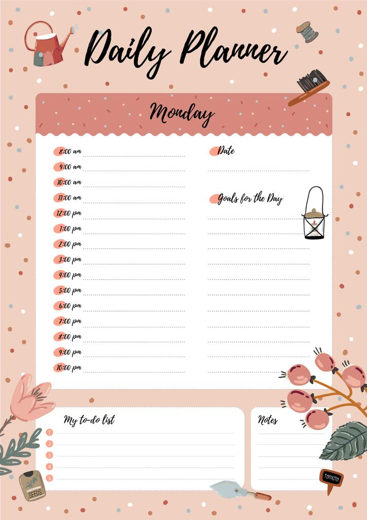 Daily Planner with Garden Supplies — Crear un diseño