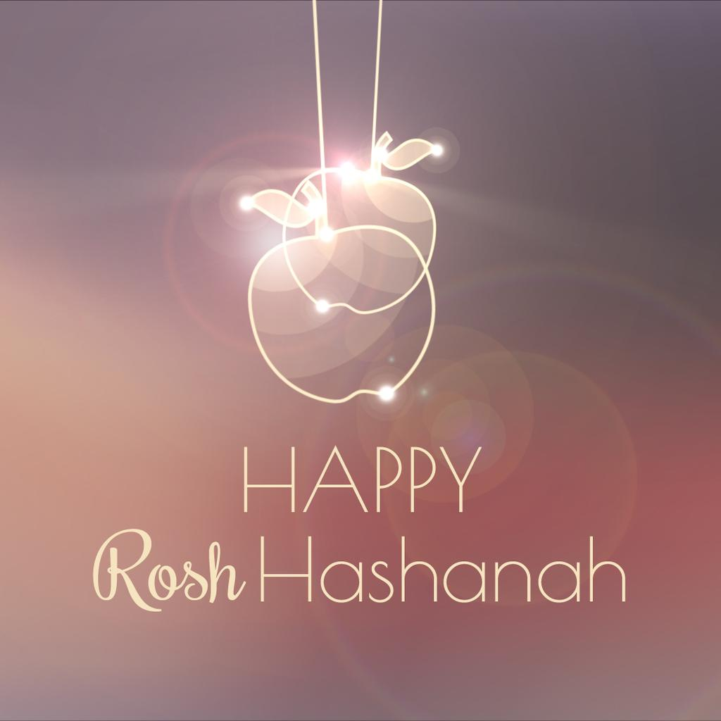 Rosh Hashanah garland with apples — Modelo de projeto