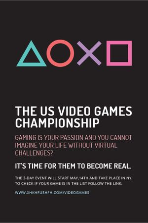 Video Games Championship announcement Tumblr Modelo de Design