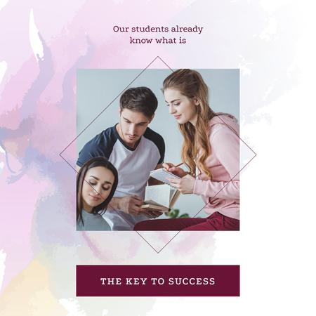 Plantilla de diseño de Students Studying Together in Pink Instagram AD