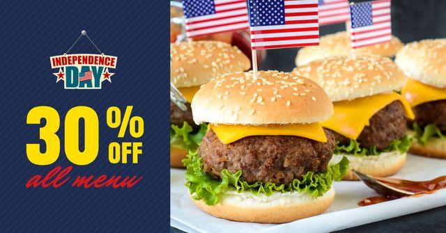 Plantilla de diseño de Independence Day Menu with Burgers Facebook AD