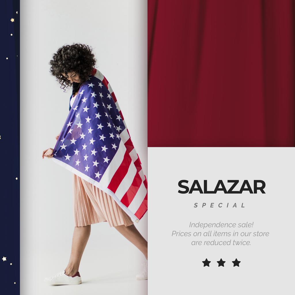 Independence Day Celebration Girl in USA Flag | Square Video Template — Создать дизайн