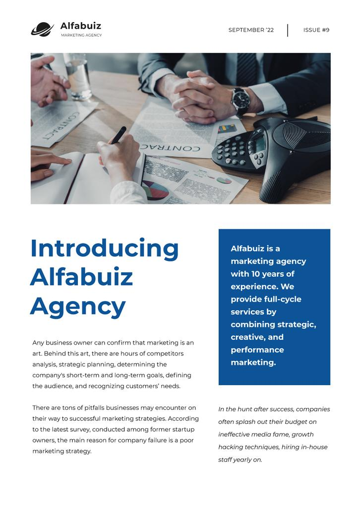 Marketing Agency Overview with Business team Newsletter Design Template