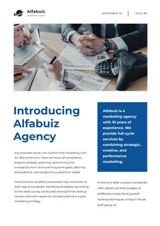 Marketing Agency Overview with Business team Newsletter Modelo de Design