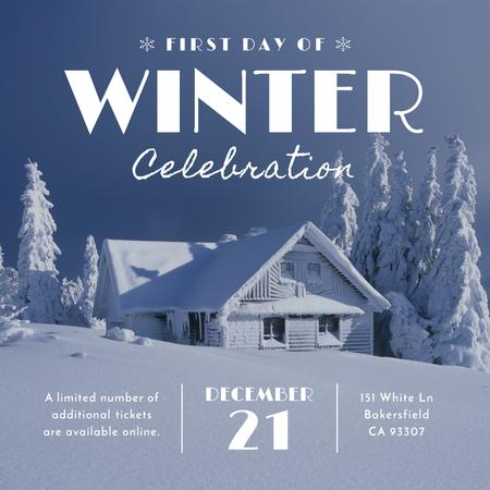 First day of winter celebration in Snowy Forest Instagram AD Design Template