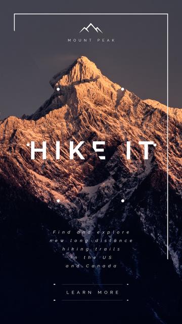 Designvorlage Hiking inspiration with scenic Mountain peak für Instagram Video Story