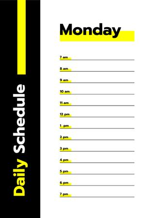 Modèle de visuel Black and Yellow Daily Schedule - Schedule Planner