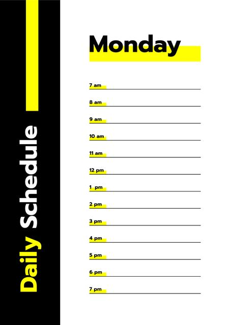 Black and Yellow Daily Schedule Schedule Planner Design Template