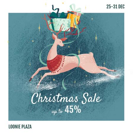 Ontwerpsjabloon van Instagram van Christmas Sale Deer with Gifts
