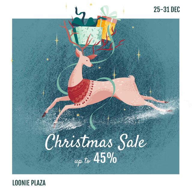 Christmas Sale Deer with Gifts Instagram – шаблон для дизайну