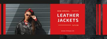 Fashion Ad Woman in Leather Jacket | Facebook Cover Template