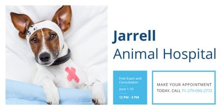 Ontwerpsjabloon van Image van Animal Hospital Ad with Cute injured Dog