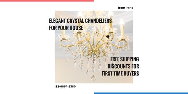 Ontwerpsjabloon van Twitter van Elegant crystal chandeliers shop Offer