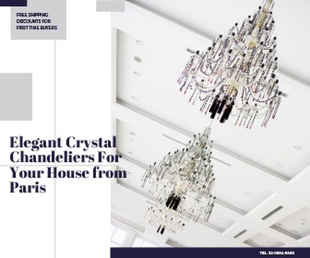 Ontwerpsjabloon van Large Rectangle van Elegant Crystal Chandeliers Offer in White