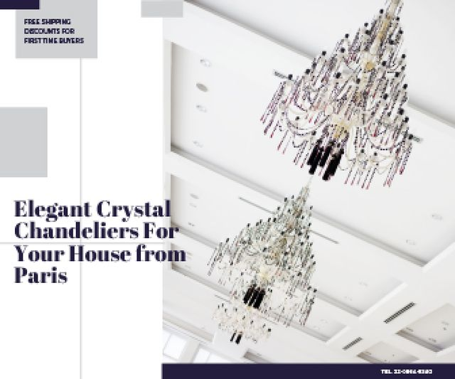 Elegant Crystal Chandeliers Offer in White Large Rectangle Design Template