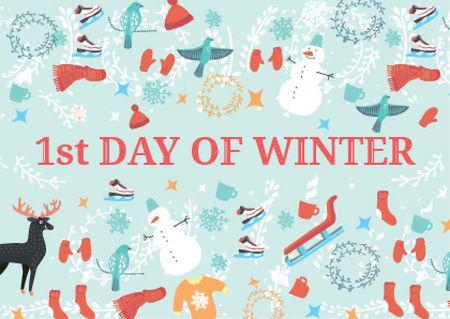 Designvorlage First day of winter with Winter Attributes für Postcard
