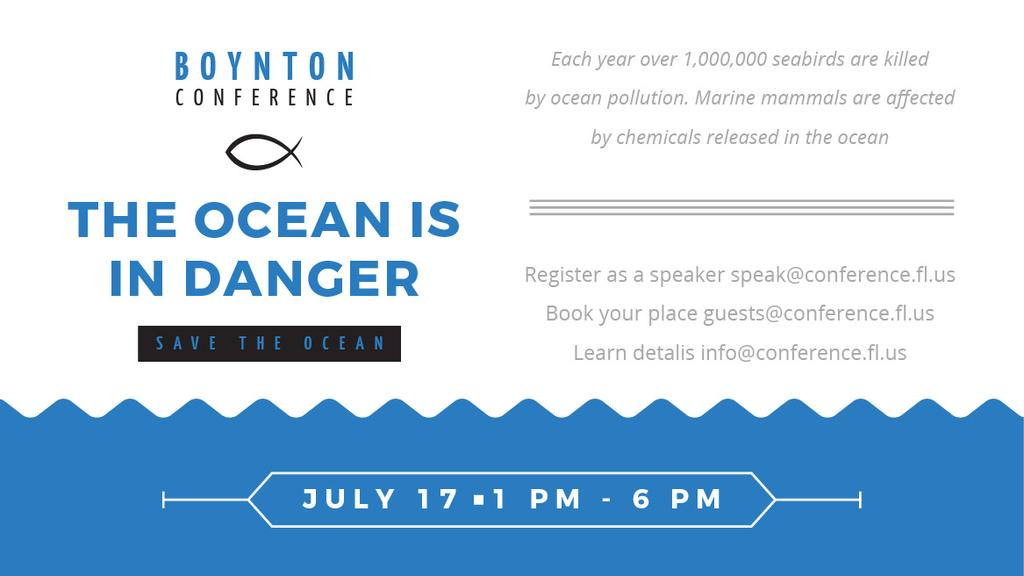 Ecology Conference Invitation with blue Sea Waves — Crear un diseño