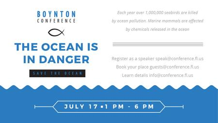 Ontwerpsjabloon van Title van Ecology Conference Invitation with blue Sea Waves