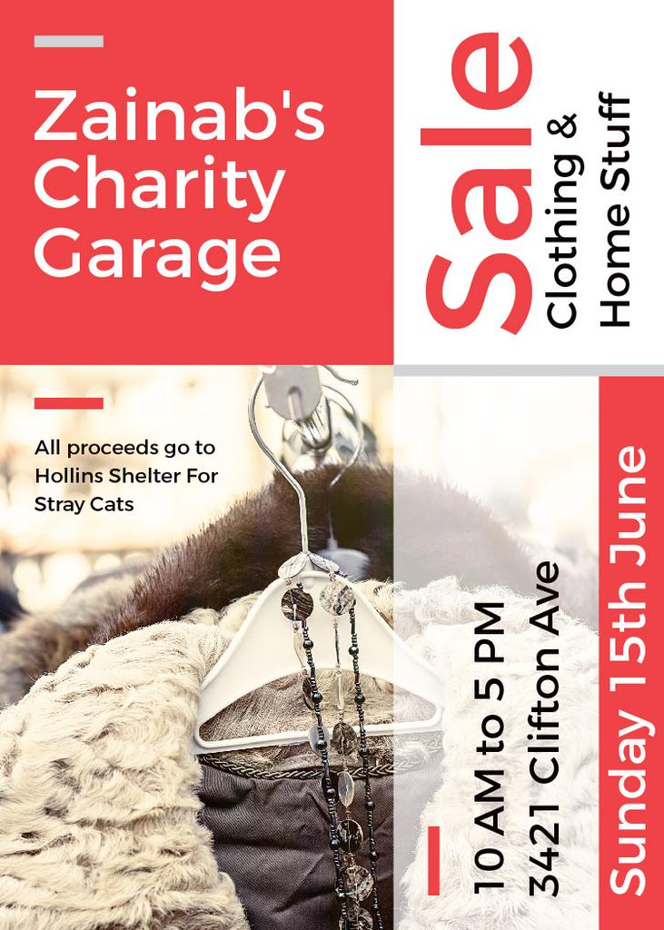 Charity Sale Announcement Clothes on Hangers — Créer un visuel