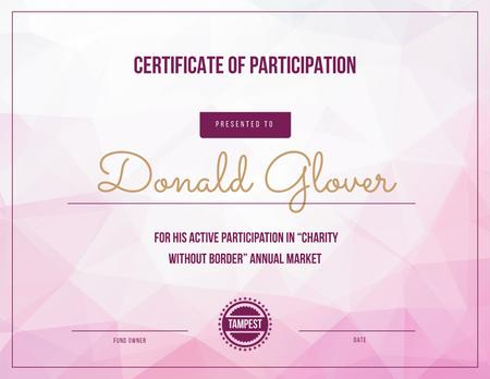 Charity market Participation gratitude Certificate Design Template