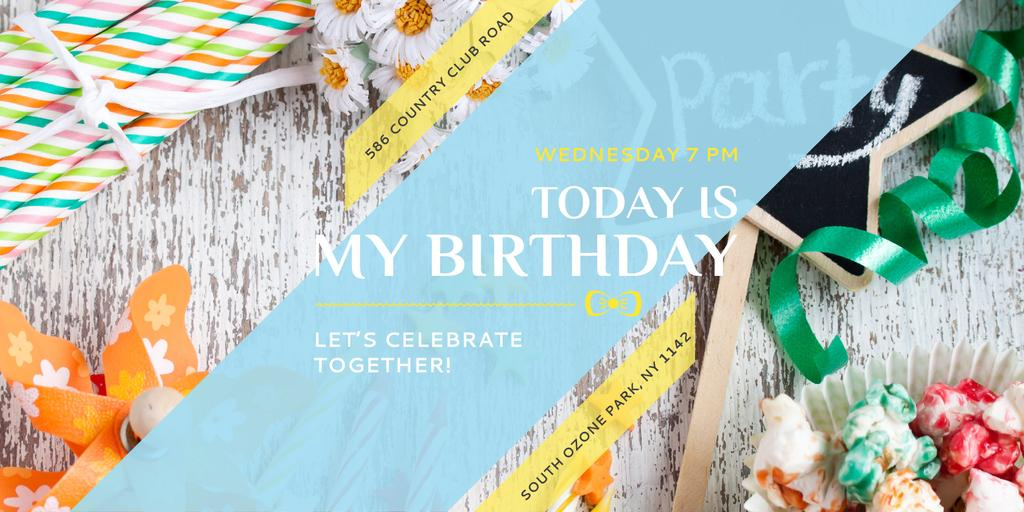 Birthday Party Invitation with Bows and Ribbons — Створити дизайн