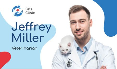 Plantilla de diseño de Veterinarian Contacts Man with Cat Business card