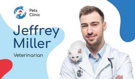 Ontwerpsjabloon van Business card van Veterinarian Contacts Man with Cat