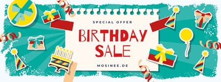 Plantilla de diseño de Birthday Sale Party Attributes Icons Facebook cover