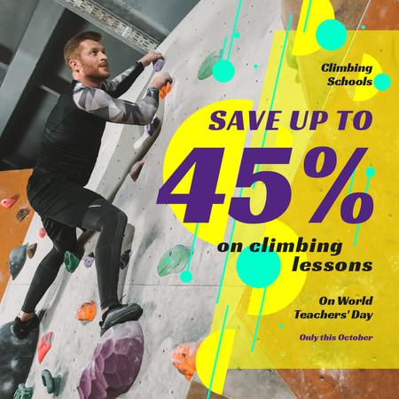Ontwerpsjabloon van Instagram van World Teachers' Day Climbing Lessons Offer