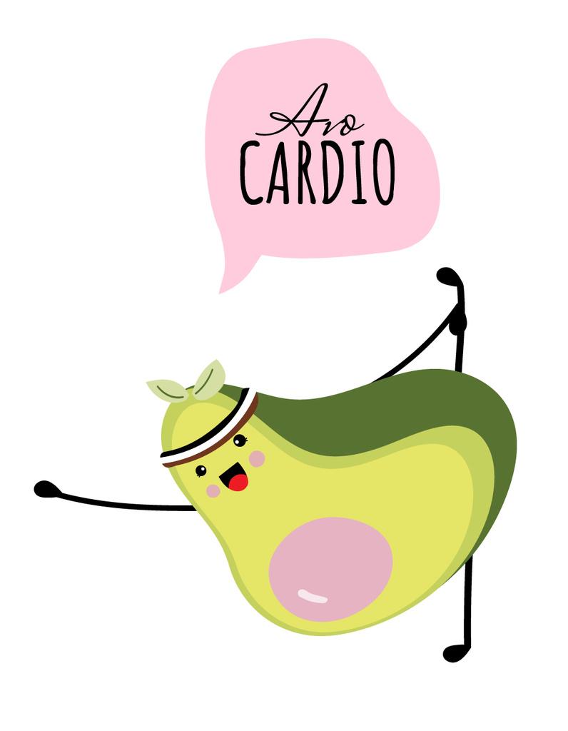 Funny Avocado doing Fitness — Create a Design