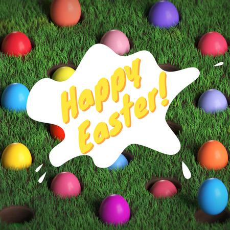 Szablon projektu Colored Easter eggs on Grass Animated Post