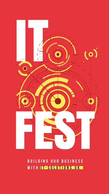 IT Fest Announcement Circles Mechanism Instagram Video Storyデザインテンプレート