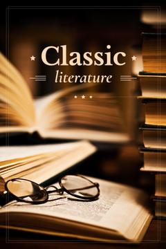 classic literature poster with opened book and vintage glasses