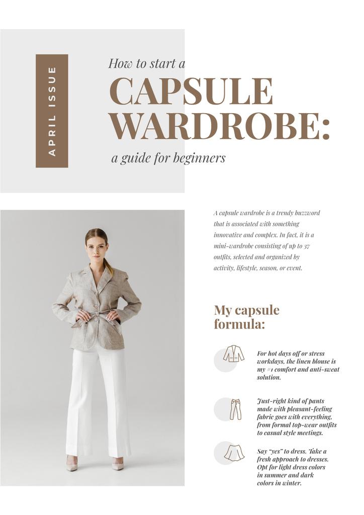 Capsule Wardrobe guide with Woman in stylish suit Newsletter Modelo de Design