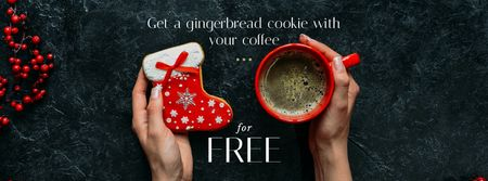 Plantilla de diseño de Christmas Offer Coffee Cup and Gingerbread Facebook cover
