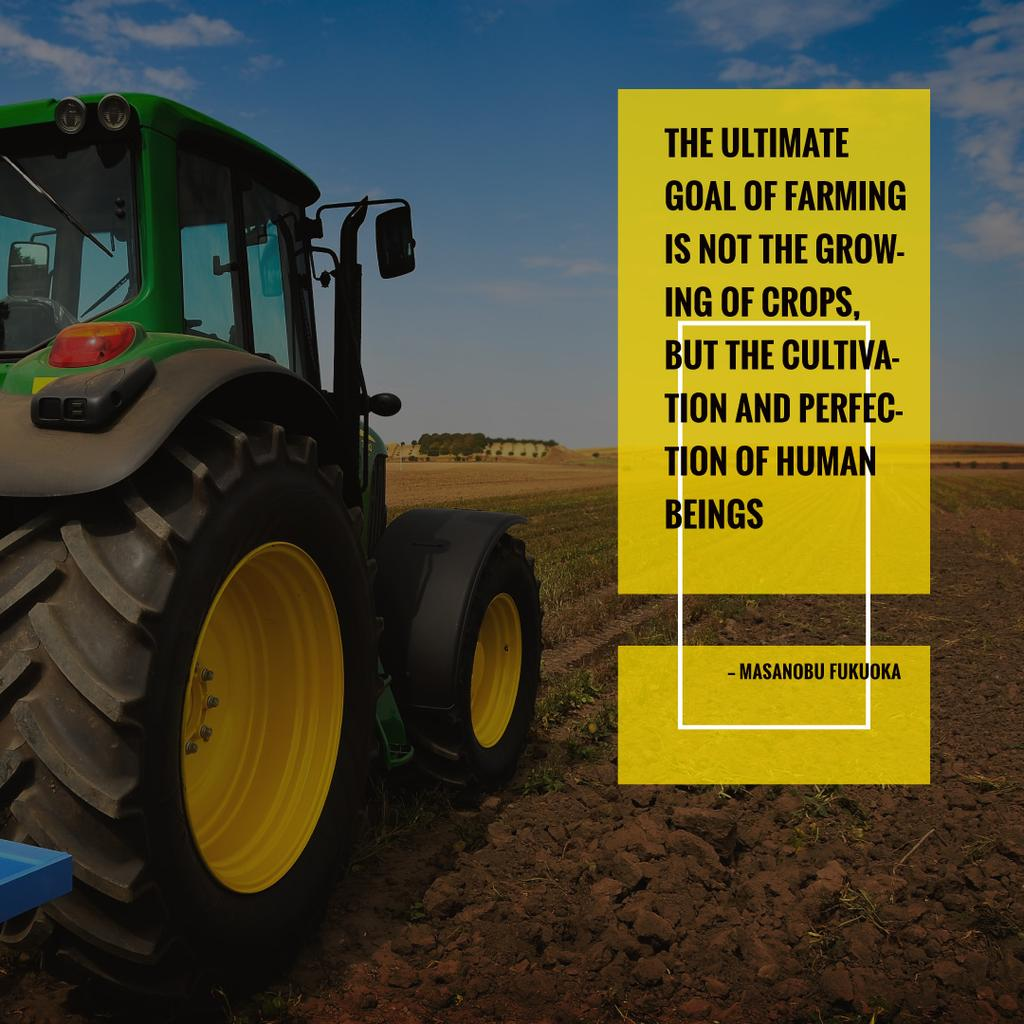Tractor on agro field with Inspirational Quote — Modelo de projeto
