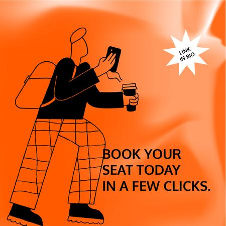 Booking Service ad with Man holding coffee and phone Animated Postデザインテンプレート