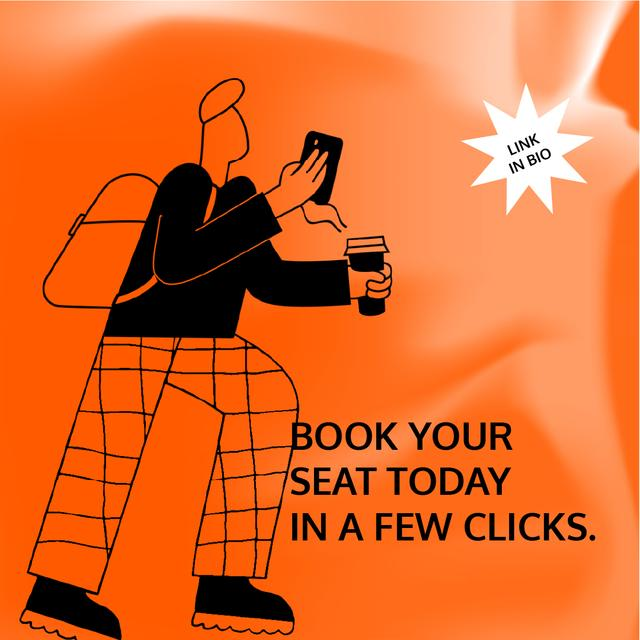 Ontwerpsjabloon van Animated Post van Booking Service ad with Man holding coffee and phone