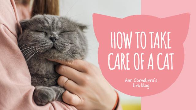 Pet Care Guide Woman Hugging Cat Youtube Thumbnail Modelo de Design