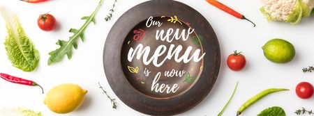 Plantilla de diseño de Meal with greens and Vegetables Facebook cover