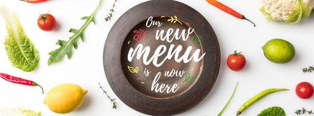 Meal with greens and Vegetables Facebook cover Design Template