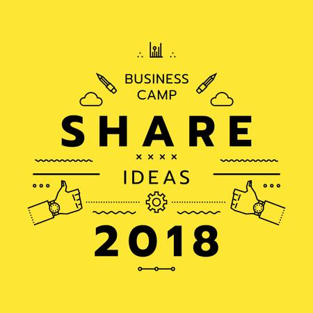 Business camp promotion icons in yellow Instagram AD Modelo de Design
